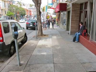 Harvey Milk Marker and Memorial Plaque - Wide View - Looking North Up Castro image. Click for full size.