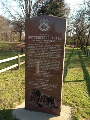 Historic Butterfield Trail in Indian Territory 1857-1861 Marker image. Click for full size.