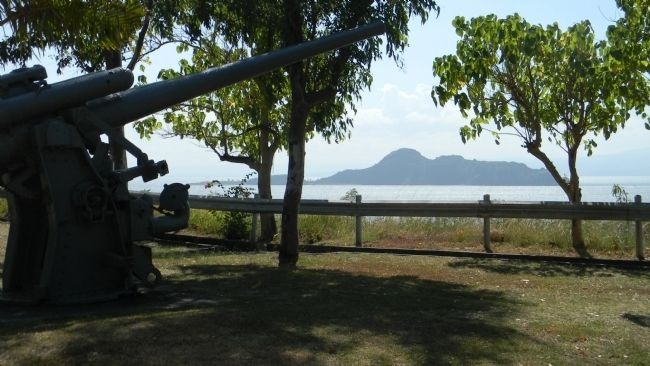 View from the Japanese Memorial Garden, looking south with Caballo Island (Fort Hughes) off shore image. Click for full size.