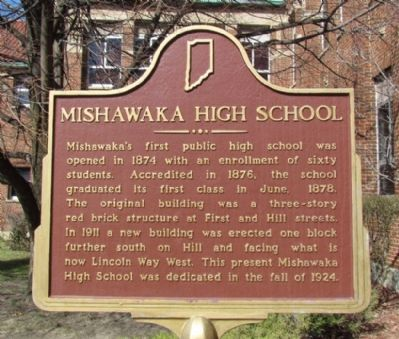 Mishawaka High School Marker image. Click for full size.