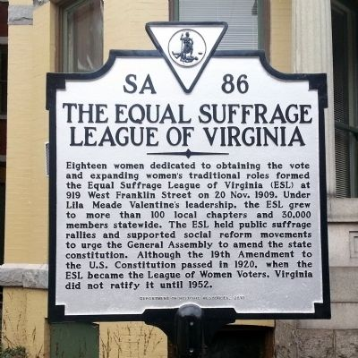 The Equal Suffrage League of Virginia Marker image. Click for full size.