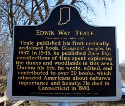 Edwin Way Teale Marker (Back) image. Click for full size.