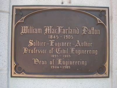 An older plaque at the rear entrance to Patton Hall image. Click for full size.
