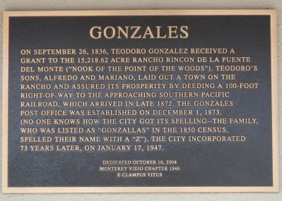 Gonzales Marker image. Click for full size.