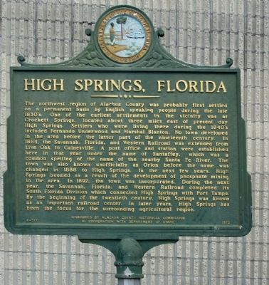 High Springs, Florida Marker image. Click for full size.