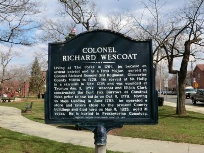 Colonel Richard Wescoat Marker image. Click for full size.