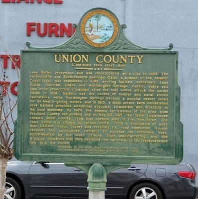 Union County Marker, reverse side image. Click for full size.