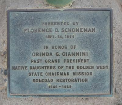 Plaque at the base of the El Camino Real Bell image. Click for full size.