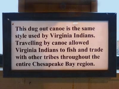 Dug-out Canoe sign<br>in the Vistors Center image. Click for full size.