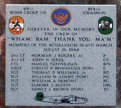 491st Bombardment Group (H) Marker 854th Squadron image. Click for more information.
