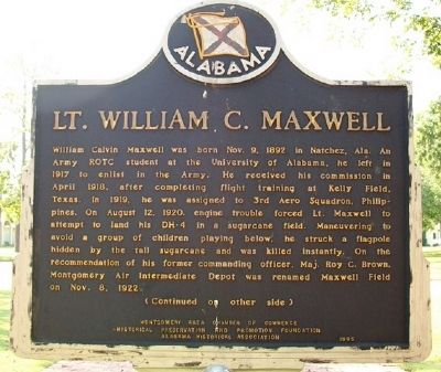 Lt. William C. Maxwell Marker (Side A) image. Click for full size.