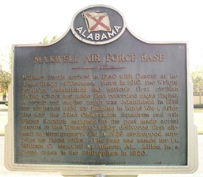 Maxwell Air Force Base Marker (Side B) image. Click for full size.
