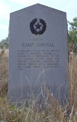 Site of Camp Sabinal Marker image. Click for full size.