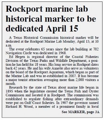 Rockport Pilot Newspaper Article - Page 1 of 2 image. Click for full size.