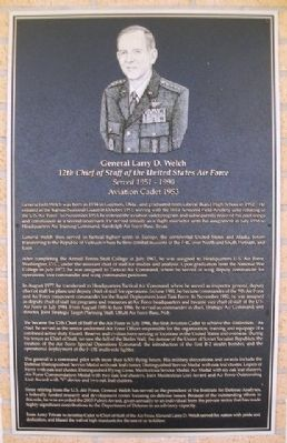 General Larry D. Welch Marker image. Click for full size.