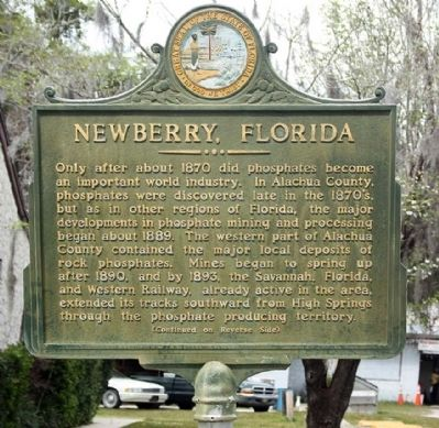 Newberry, Florida Marker prior to restoration image. Click for full size.