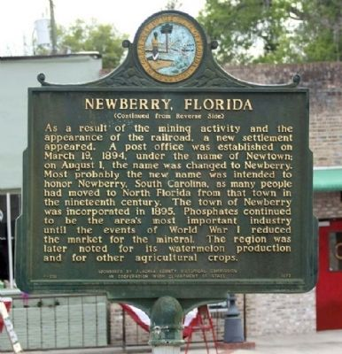 Newberry, Florida Marker, reverse side, prior to restoration image. Click for full size.
