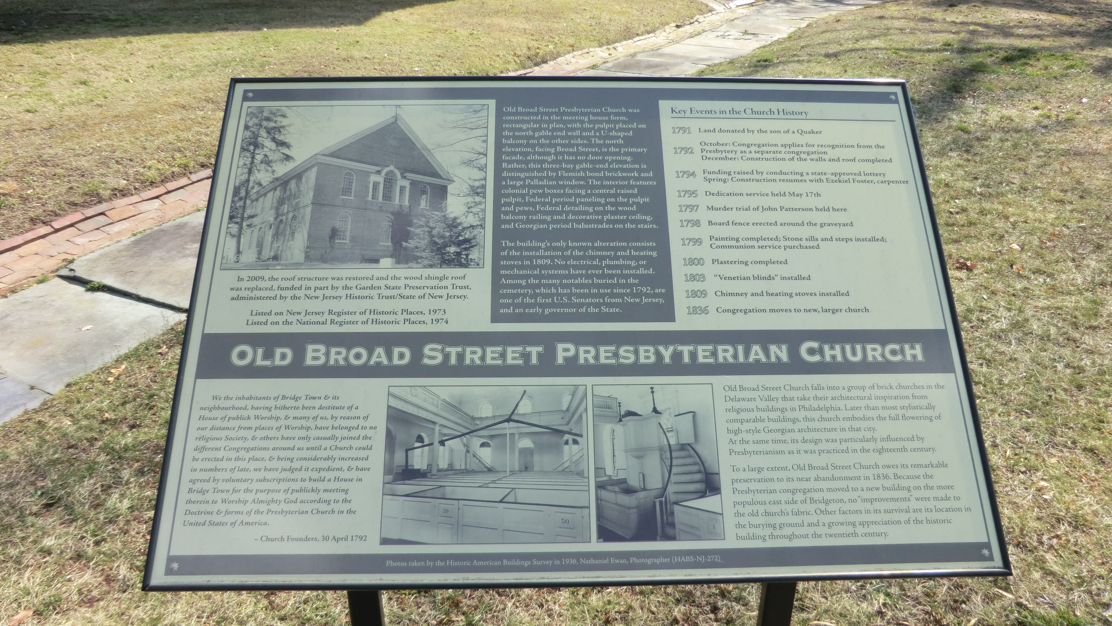 Old Broad Street Presbyterain Church Marker