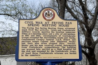 Civil War at Frying Pan Spring Meeting House Marker image. Click for full size.