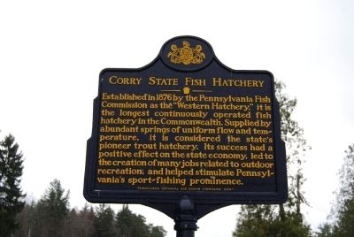 Corry State Fish Hatchery Marker image. Click for full size.