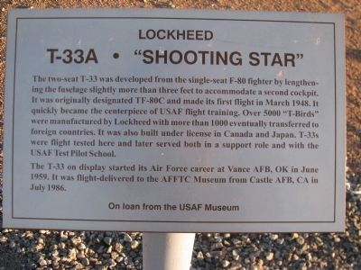 "T-33A ""Shooting Star"" Marker image. Click for full size."