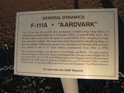 "F-111A - ""Aardvark"" Marker image. Click for full size."