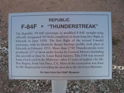 "F-84F - ""Thunderstreak"" Marker image. Click for full size."