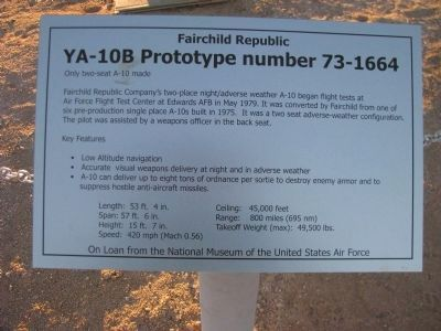YA-10B Prototype number 73-1664 Marker image. Click for full size.