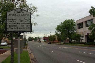 Charles B. Aycock Marker looking west along Ash Street image. Click for full size.