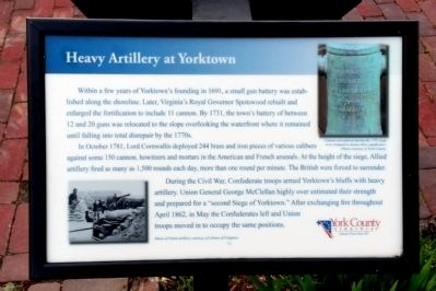 Heavy Artillery at Yorktown Marker image. Click for full size.