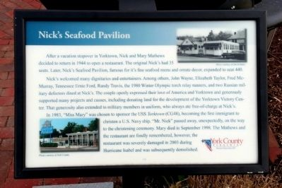 Nick's Seafood Pavilion Marker image. Click for full size.