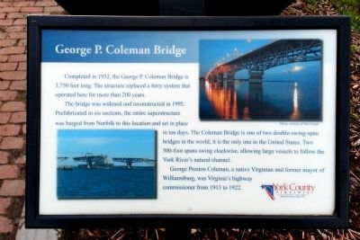 George P. Coleman Bridge Marker image. Click for full size.