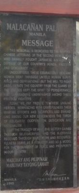 Filipino-Chinese World War II Martyrs Memorial - Marker Panel 4 image. Click for full size.