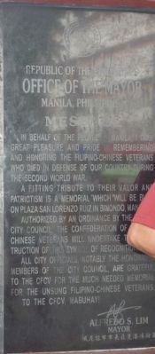 Filipino-Chinese World War II Martyrs Memorial Marker Panel 5 image. Click for full size.