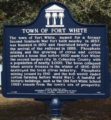 Town of Fort White Marker image. Click for full size.