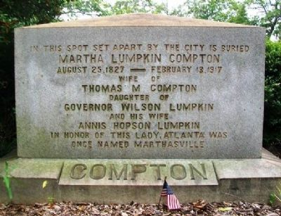 Martha Lumpkin Compton Monument image. Click for full size.