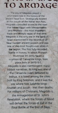 From Megiddo to Armageddon Marker image. Click for full size.