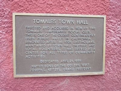Tomales Town Hall Marker image. Click for full size.