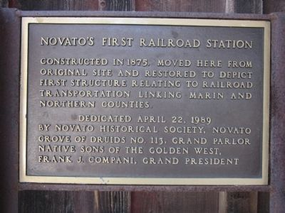Novato's First Railroad Station Marker image. Click for full size.