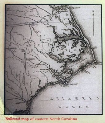Railroad Map of eastern North Carolina image. Click for full size.