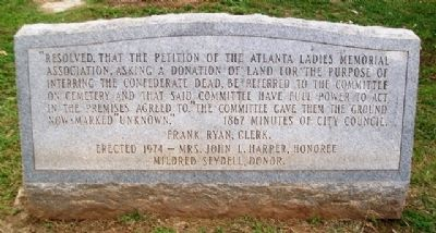 Confederate Soldiers Plot Marker image. Click for full size.