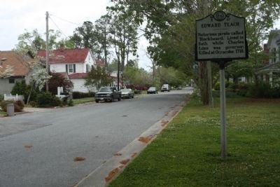 Edward Teach Marker along South Main Street, looking north image. Click for full size.