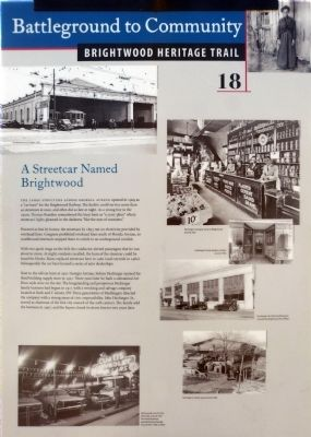 A Streetcar Named Brightwood Marker image. Click for full size.