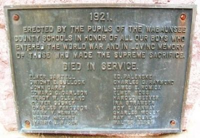 Wabaunsee County World War I Memorial Marker image. Click for full size.