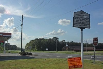 Dobbs County Marker, looking northwest along US 70 image. Click for full size.