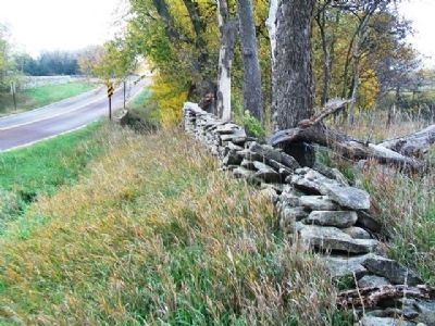 Unrestored Stone Fence Along KS Route 99 (Native Stone Scenic Byway) image. Click for full size.