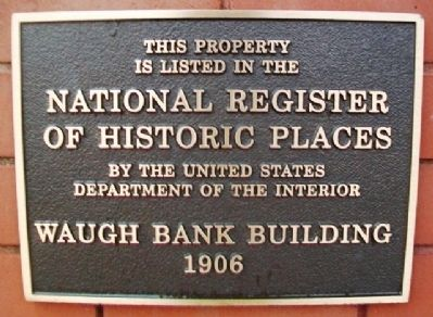 Waugh Bank Building NRHP Marker image. Click for full size.
