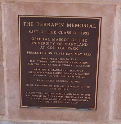 "Terrapin Memorial marker on reverse of ""Testudo's"" pedestal image. Click for full size."