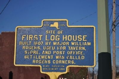 Site of First Log House Marker image. Click for full size.