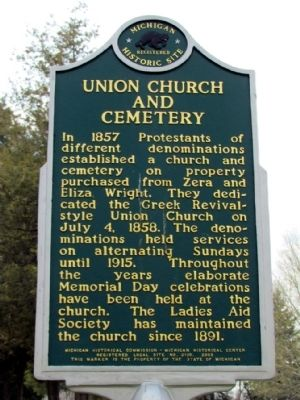 Union Church and Cemetery Marker image. Click for full size.